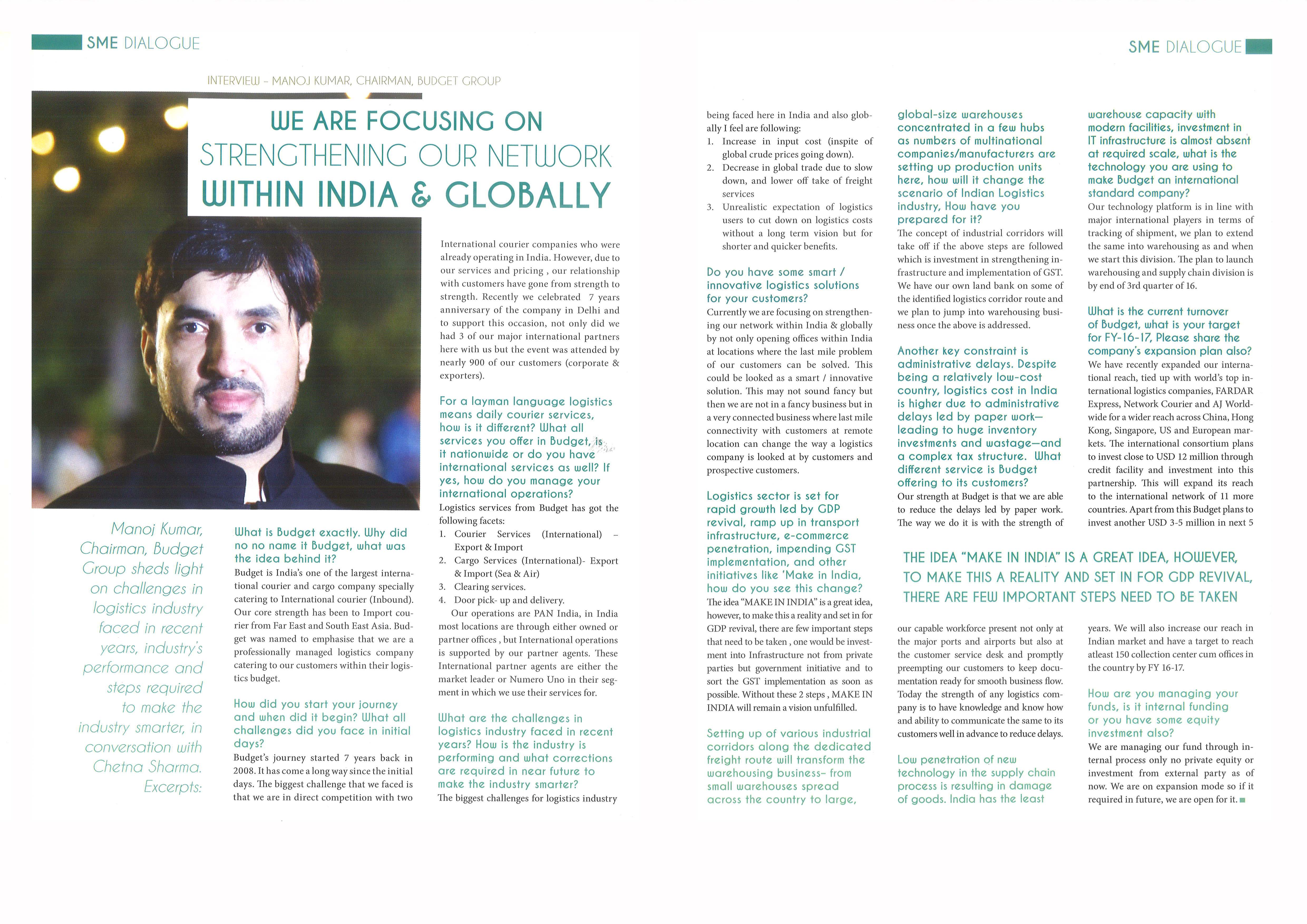 Interview of  our honourable chairman Mr. Manoj Kumar, published in CITY Living